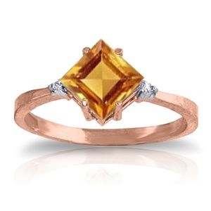 14K. SOLID GOLD RING WITH DIAMONDS & CITRINE
